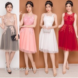 Đầm xòe đính hoa 3d cao cấp màu 4 trắng, đỏ, hồng, da kem