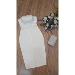 Đầm body kết bẹc hoa giọt Sương mai cao cấp 3  màu trắng, xám, hồng