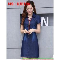 Đầm jean nữ công sở phối viền màu trẻ trung và cá tính DJE196