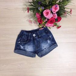 Quần short jeans bé gái wash rách xoăn lai 24_38kg