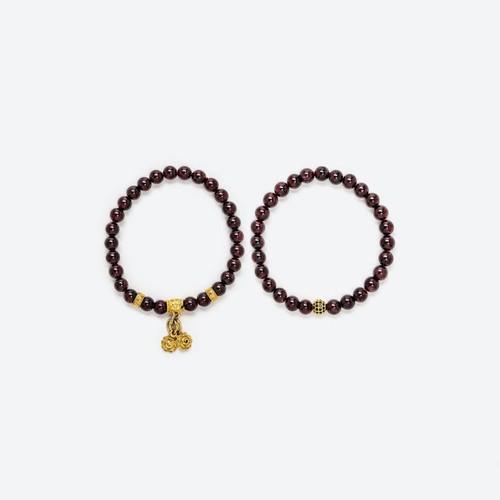 Vòng Tay Đôi Garnet Mix Charm Si Vàng