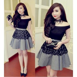 Đầm xòe thiết kế ren đen bẹt vai caro Bella