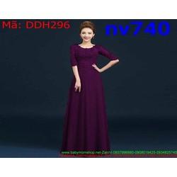 Đầm dạ hồi xòe phom dài phối ren sang trọng và quý phái DDH296