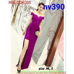 Đầm dạ hội bẹt vai thiết kế xẻ đùi tôn dáng đẹp sang trọng DDH305