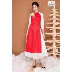 Sét áo dài gấm phối tay ren  chân váy xoè so hot