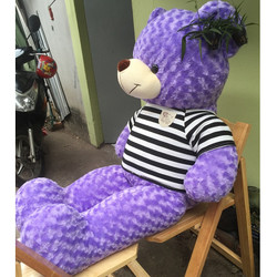 Gấu bông teddy 1m4 - Gấu  Teddy khổ 1m4 màu tím giá rẻ