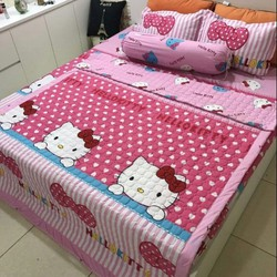 bộ chăn ga cotton  cho bé gái  - kitty hồng
