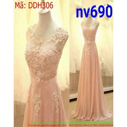 Đầm dạ hội xòe dài màu hồng dễ thương xinh xắn DDH306