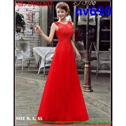 Đầm dạ hội xòe phối ren lưới màu đỏ sang trọng nổi bật DDH307