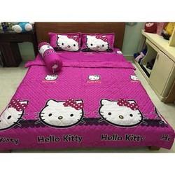 bộ chăn ga helo kitty- màu hồng tím