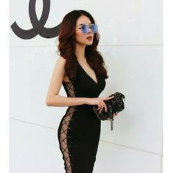 Đầm đen đan chéo dây