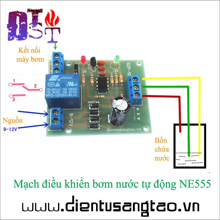Mạch điều khiển bơm nước tự động NE555 1