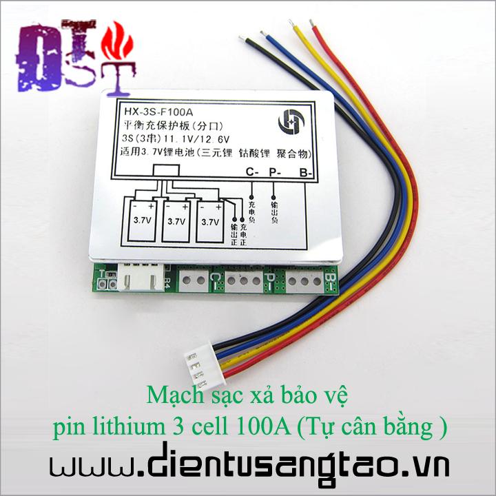 Mạch sạc xả bảo vệ  pin lithium 3 cell 100A Tự cân bằng 1
