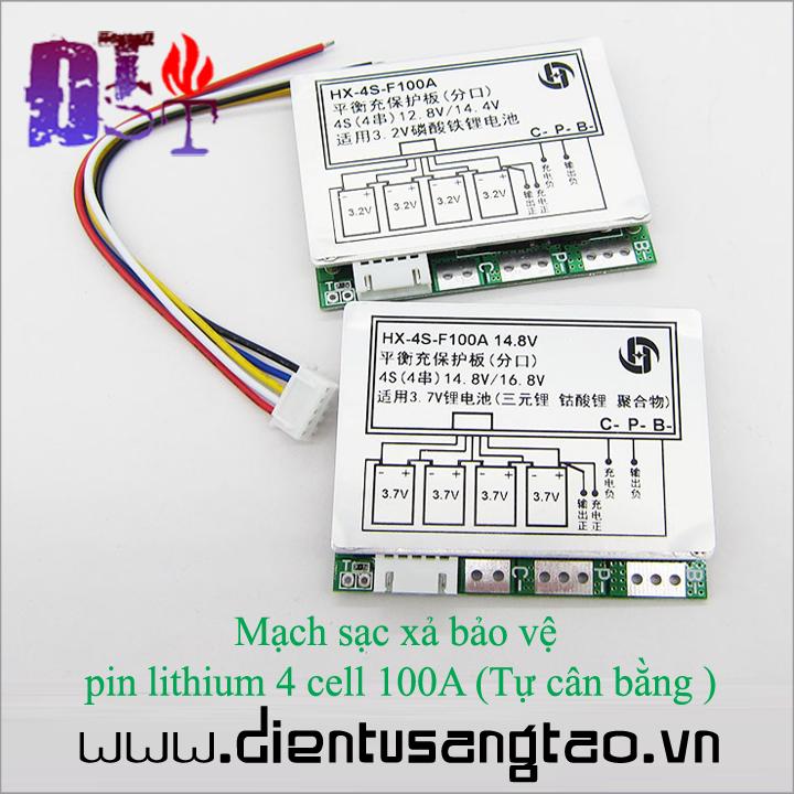 Mạch sạc xả bảo vệ  pin lithium 4 cell 100A Tự cân bằng 1
