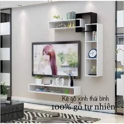 Bộ kệ gỗ phòng khách kết hợp hiện đại