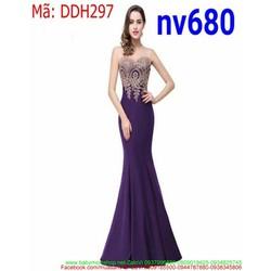 Đầm dạ hội thiết kế ôm dáng hoa văn ren sang trọng DDH297