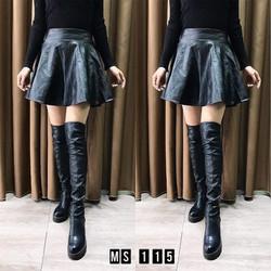 chân váy da xòe