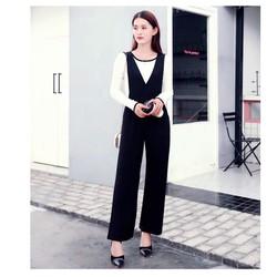 Set áo thun trắng tay dài viền đen+quần yếm đen