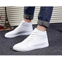 MÀU TRẮNG Giày nam bata viền chỉ cổ cao