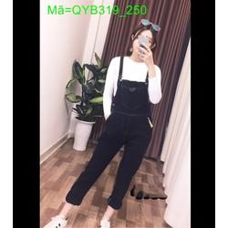 Quần yếm jean dài trơn màu đen phối túi bản năng động cá tính QYB319