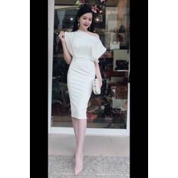 Đầm ôm lệch vai trắng tôn dáng