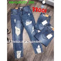 Quần jean nữ lưng cao rách màu xanh cá tính QJR257