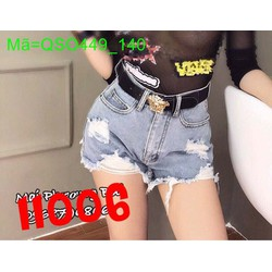 Quần jean short nữ lưng cao rách lai màu bạc sành điệu QSO449