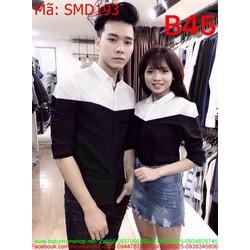 Sét đồ cặp áo sơ mi cổ bẻ phối 2 màu cá tính thời trang SMD193