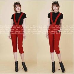 Set quần yếm lửng phối áo thun cao cấp QY001
