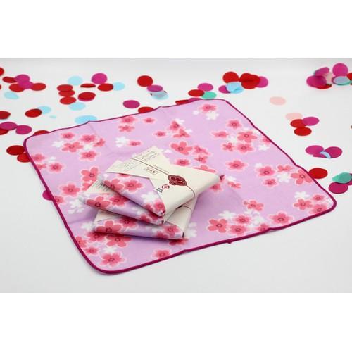Khăn mặt Nhật Nissen mẫu hoa anh đào hồng tím
