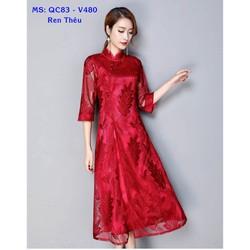 Đầm Xòe Trung Hoa Thêu Họa Tiết Hàng Nhập