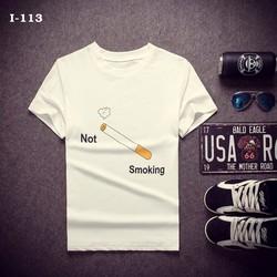 Áo Thun Nam Màu Trắng Chữ Not Smoking CO GIÃN 4 CHIỀU HÀNG XUẤT KHẨU