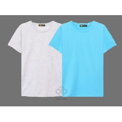 Bộ 2 áo thun trơn cotton nam, nữ giá sĩ xám tiêu, thiên thanh