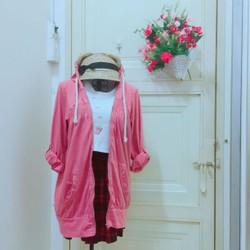Thanh ly áo khoác thun hồng form dài xinh yêu