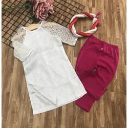 Áo dài bé gái gấm tay ren+ mấn + quần hồng