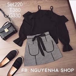 Set áo bẹt vai tay phồng chân váy 2 túi viền đen xinh ngất ngây