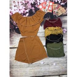 Set áo và quần váy kết châu