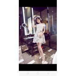 Đầm von hoa áo bệt vai