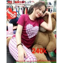 Đồ mặc nhà nữ quần caro họa tiết trái tim đáng yêu NN527