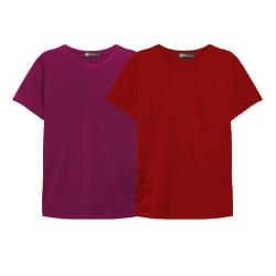 combo 2 áo phông trơn nam, nữ giá sĩ đỏ , đô