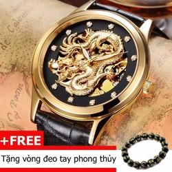 Đồng hồ cơ Automatic Rồng vàng Dây da