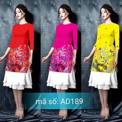 Set áo dài cách tân gấm họa tiết hoa bướm kèm váy dập ly 2 tầng  AD189