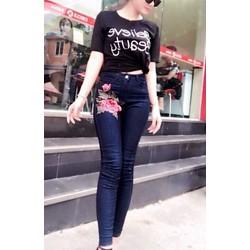 Quần jeans thun nữ kết hoa cao cấp