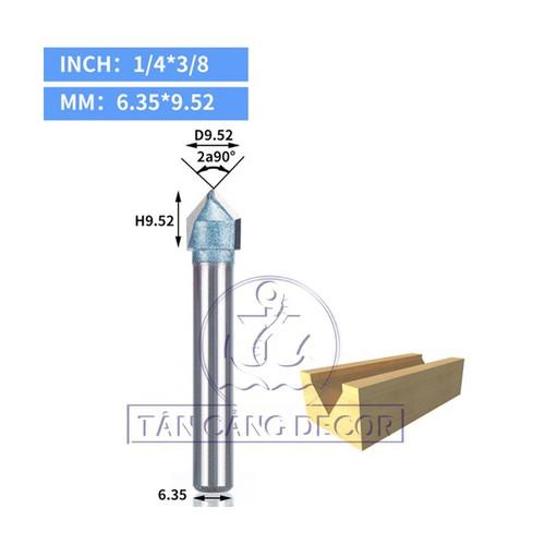 Mũi Router TideWay 1-4 x 3-8 Cốt 6.35 mm