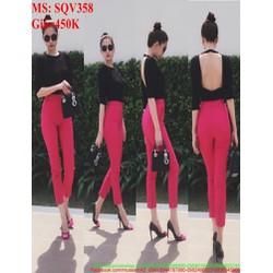 Sét áo kiểu dài tay hở lưng sexy và quần baggy sành điệu SQV358