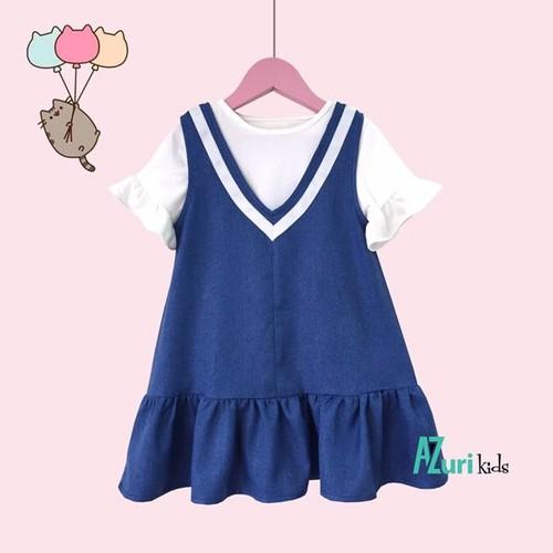 Set đầm yếm kèm áo thun rời tay loe điệu đà bé gái 2-4 tuổi