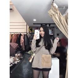 Áo len nữ túi lông