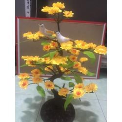 Chậu hoa Mai vàng, Đào hồng cao 46cm có chim