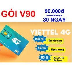 Sim 4G V90 viettel Đã Đăng Ký Tháng Đầu