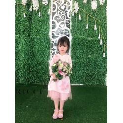 áo dài lụa bé gái đính hoa